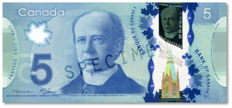 Billete de 5 dólares canadienses