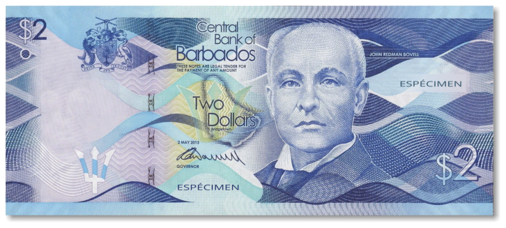 Billete de 2 dólares de Barbados