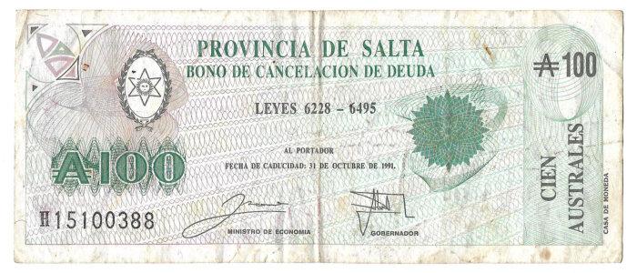 Provincia de Salta - Bono de Cancelación de Deuda
